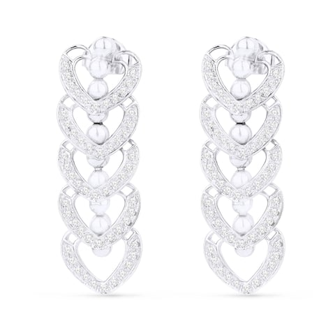 14k White Gold Dangling Heart Earrings with 0.43ct Round White Diamonds