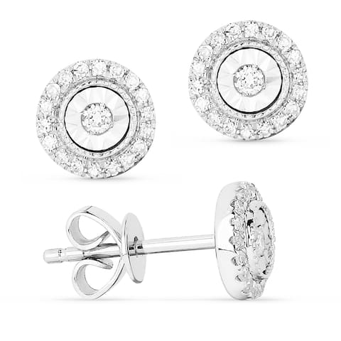 14k White Gold Stud Earrings with 0.14ct Round White Diamonds