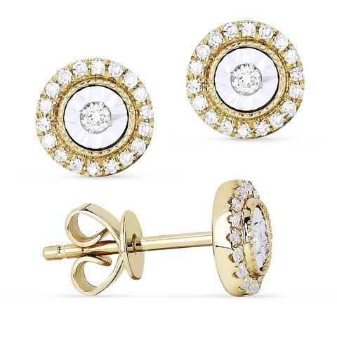 14k Yellow Gold Stud Earrings with 0.14ct Round White Diamonds