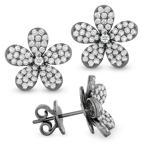 14k White Gold Stud Flower Earrings with 0.78ct Round White Diamonds