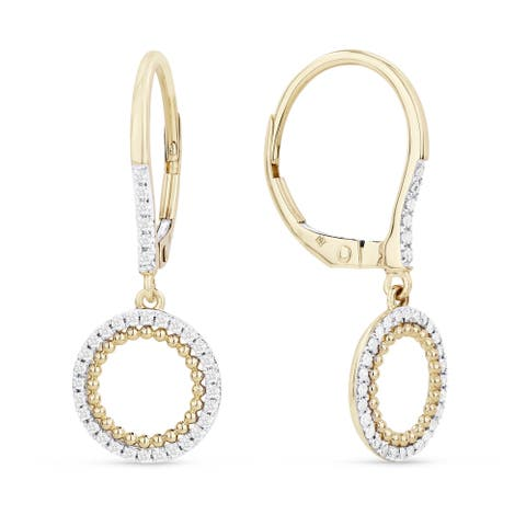 14k Yellow Gold Dangling Earrings with 0.21ct Round White Diamonds