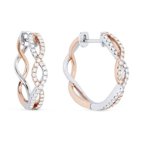 14k Two-Tone Gold Hoop Earrings with 0.47ct Round White Diamonds