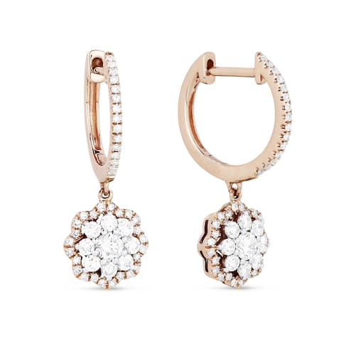 14k Rose Gold Dangling Flower Earrings with 0.69ct Round White Diamonds