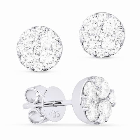 14k White Gold Stud Earrings with 0.78ct Round White Diamonds