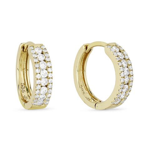 14k Yellow Gold Hoop Earrings with 0.36ct Round White Diamonds
