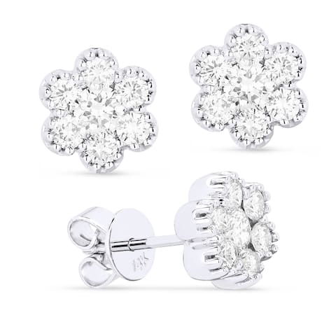 14k White Gold Stud Flower Earrings with 0.81ct Round White Diamonds