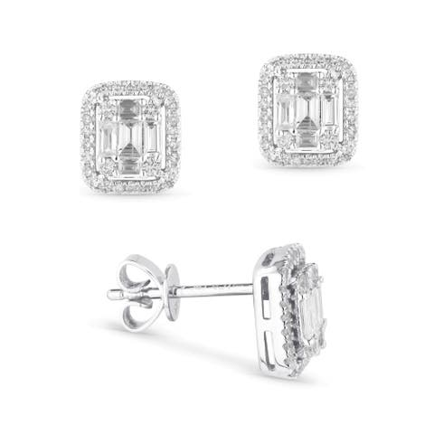 14k White Gold Stud Earrings with 0.23ct Baguette White Diamonds
