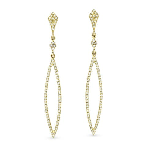 14k Yellow Gold Dangling Earrings with 0.4ct Round White Diamonds