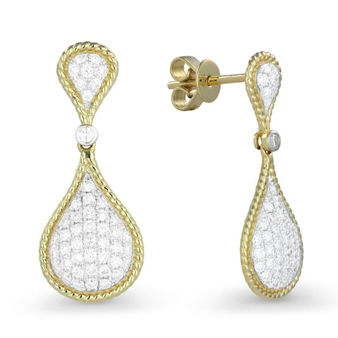 14k Yellow Gold Dangling Earrings with 0.66ct Round White Diamonds