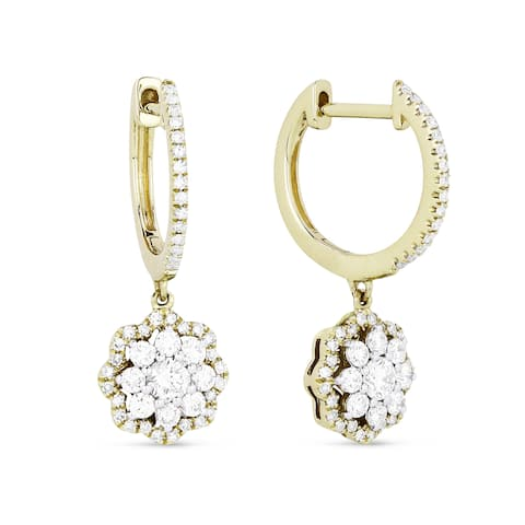 14k Yellow Gold Dangling Flower Earrings with 0.7ct Round White Diamonds