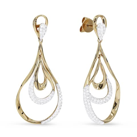 14k Yellow Gold Dangling Earrings with 0.39ct Round White Diamonds