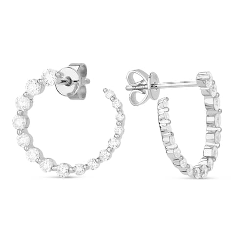 14k White Gold Stud Earrings with 0.8ct Round White Diamonds
