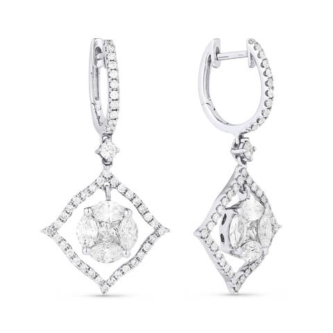 18k White Gold Dangling Earrings with 0.53ct Round White Diamonds