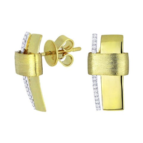 14k Yellow Gold Stud Earrings with 0.09ct Round White Diamonds