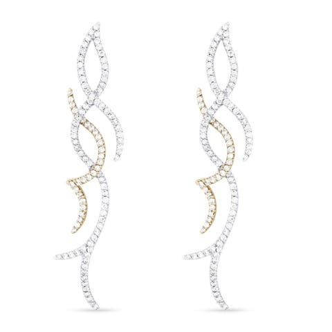 18k White Gold Dangling Earrings with 2.76ct Round White Diamonds