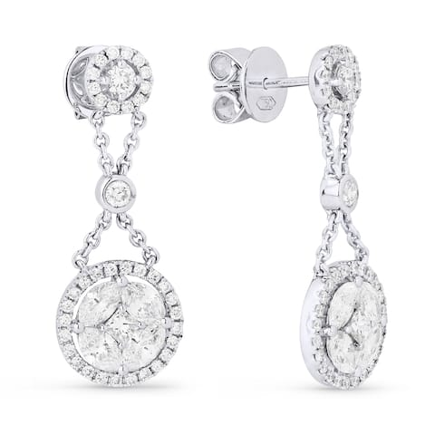 18k White Gold Dangling Earrings with 2.01ct Marquise White Diamonds