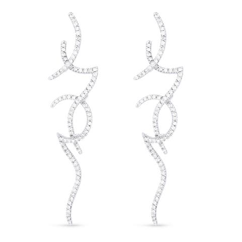18k White Gold Dangling Earrings with 2.31ct Round White Diamonds