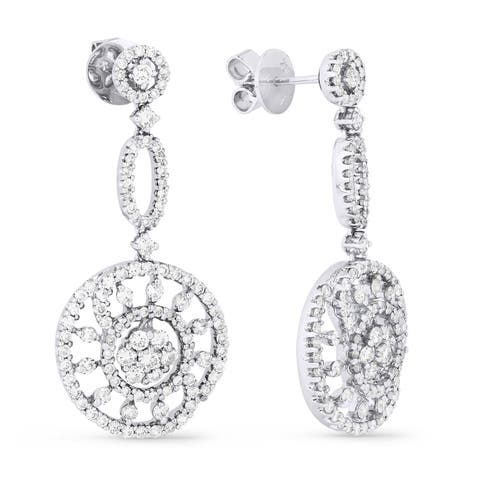 18k White Gold Dangling Earrings with 2.28ct Round White Diamonds