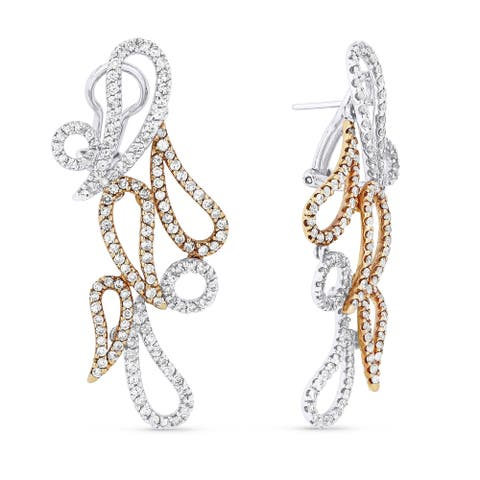 18k White Gold Dangling Earrings with 2.72ct Round White Diamonds