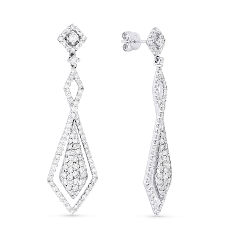 18k White Gold Dangling Earrings with 3.3ct Round White Diamonds