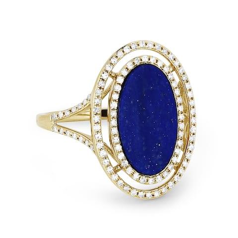 14k Yellow Gold Ring with 1.29ct Round Blue Lapis-Lazuli and 0.36ct Round White Diamonds