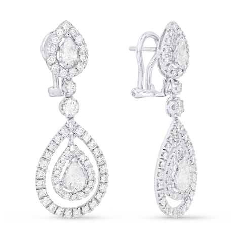 18k White Gold Dangling Earrings with 4.36ct Pear White Diamonds