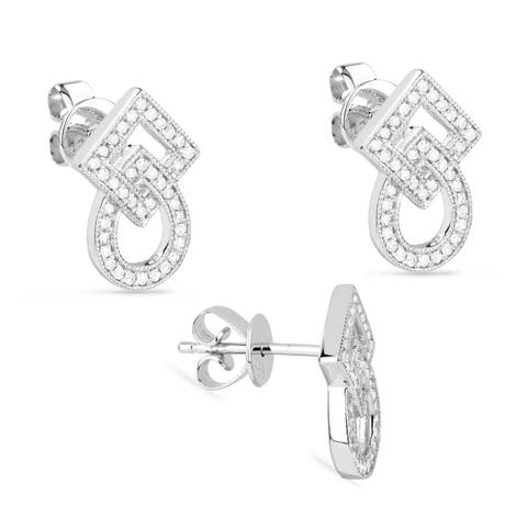 14k White Gold Stud Earrings with 0.21ct Round White Diamonds