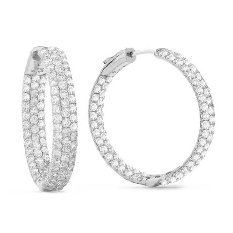 18k White Gold Hoop Earrings with 6.06ct Round White Diamonds