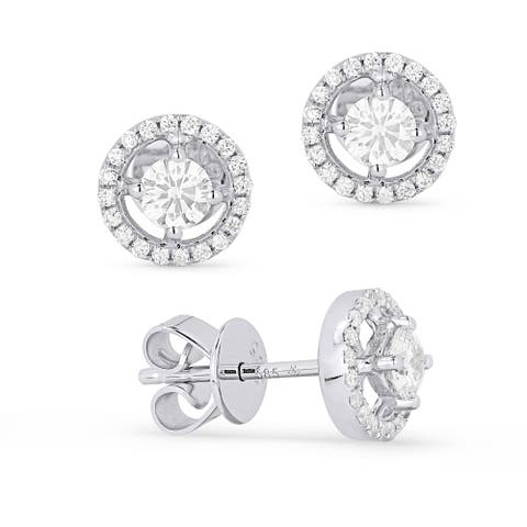 14k White Gold Stud Earrings with 0.29ct Round White Diamonds
