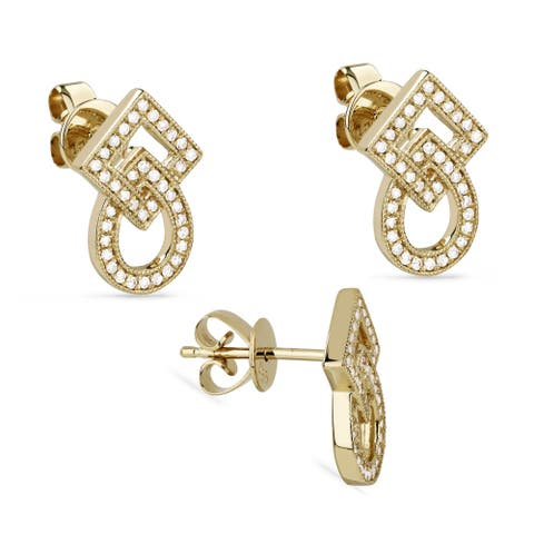 14k Yellow Gold Stud Earrings with 0.17ct Round White Diamonds