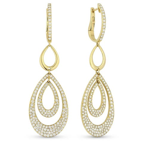 18k Yellow Gold Dangling Earrings with 3.79ct Round White Diamonds