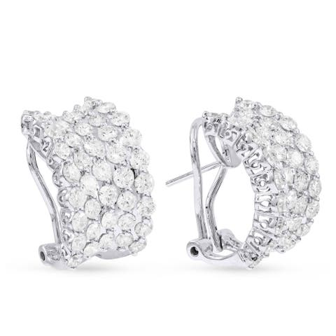 18k White Gold Hoop Earrings with 1ct Round White Diamonds
