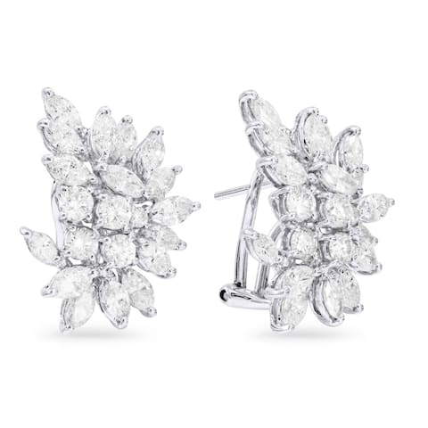18k White Gold Hoop Flower Earrings with 4.04ct Marquise White Diamonds