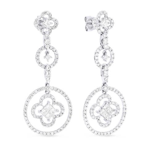 18k White Gold Dangling Earrings with 2.83ct Princess White Diamonds