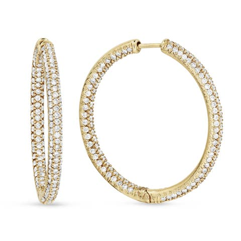 14k Yellow Gold Hoop Earrings with 2.13ct Round White Diamonds