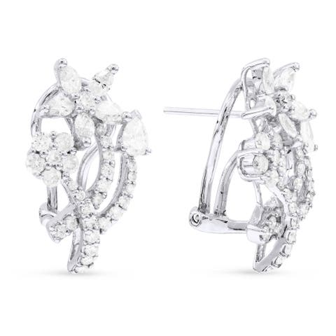 18k White Gold Hoop Earrings with 2.96ct Oval White Diamonds