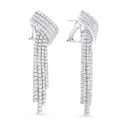 18k White Gold Dangling Earrings with 6.52ct Round White Diamonds