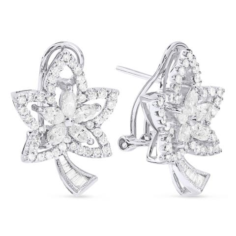 18k White Gold Hoop Earrings with 1.66ct Marquise White Diamonds