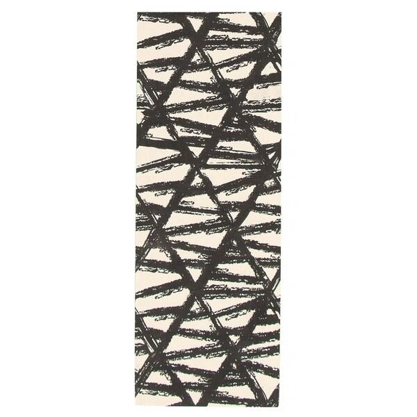 eCarpetGallery Machine Woven Bellisima Black, Ivory Polyester Rug - 2'2 x 6'0
