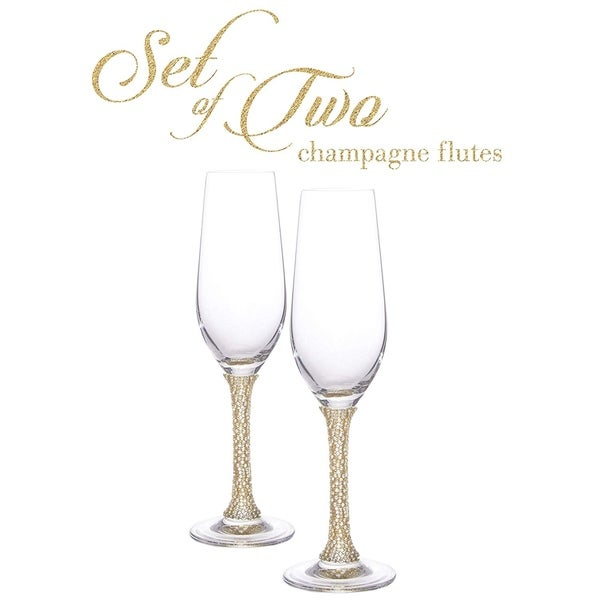 """Cheer Collection Crystal Champagne Glass with Gold Stem - 9.5"""" x 2.75"""". Opens flyout."""
