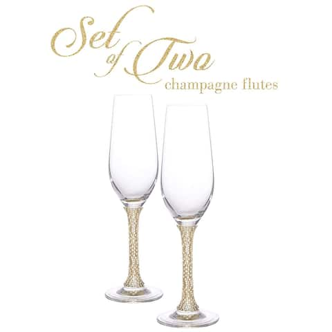 """Cheer Collection Crystal Champagne Glass with Gold Stem - 9.5"""" x 2.75"""""""