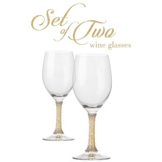 Link to Cheer Collection Crystal Wine Glass with Gold Stem Similar Items in Glasses & Barware