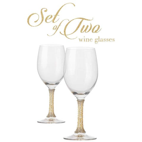 Cheer Collection Crystal Wine Glass with Gold Stem