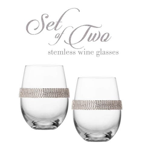 """Cheer Collection Stemless Crystal Wine Glass with Silver Rhinestone Design - 4"""" x 5"""""""