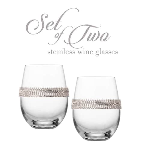 "Cheer Collection Stemless Crystal Wine Glass with Silver Rhinestone Design - 4"" x 5"""