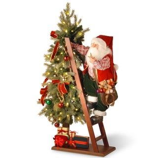 """42"""" Plush Collection Tree and Santa with Battery Operated LED Lights"""