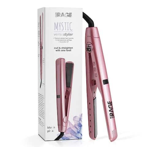 Hair Rage 2 in1 Versa Styler 1 Inch Titanium Hair Straightener and Curler Iron (Blush Pink)