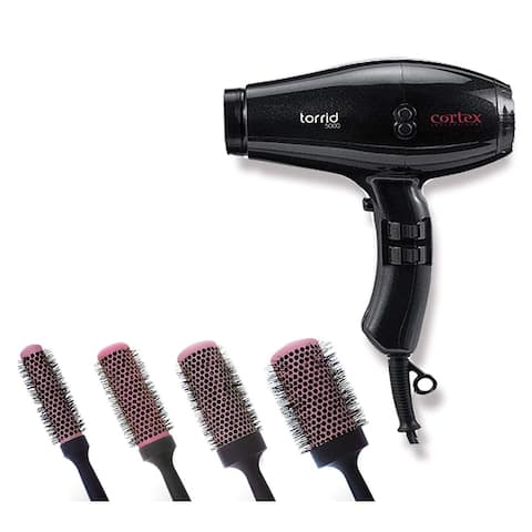 Cortex Professional Torrid Compact Hair Dryer 1400 to 1875 Watts & Premium Quality Ceramic Round Blush Pink Brushes (Black)