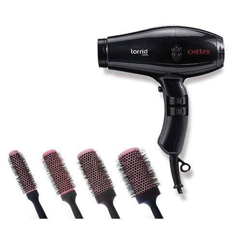 Cortex Professional Torrid Compact Hair Dryer 1400 to 1875 Watts & Premium Quality Ceramic Round Blush Pink Brushes (Black)