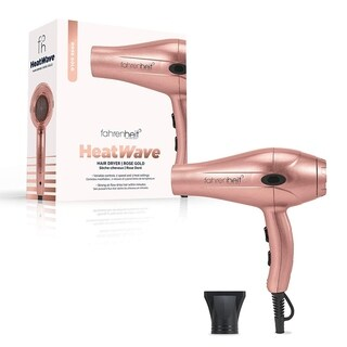 Fahrenheit Heat Wave Collection 1875 Watt Ultra Light Professional Hair Dryer with Nozzle (Rose Gold)